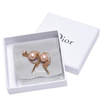 DIOR 經典TRIBALES系列簍空圓形大小珠珠造型穿式耳環(粉X金)