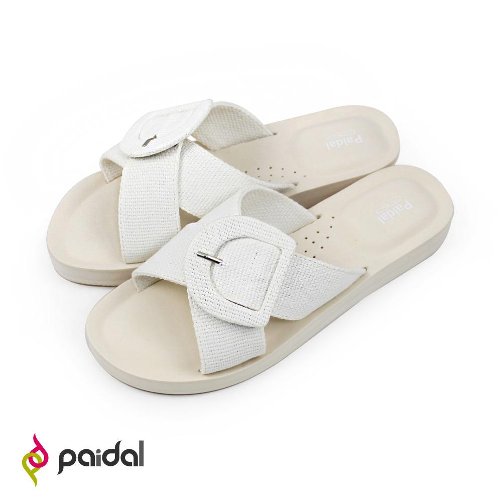 Paidal D型扣粗紋交叉厚底腳床涼拖鞋-白