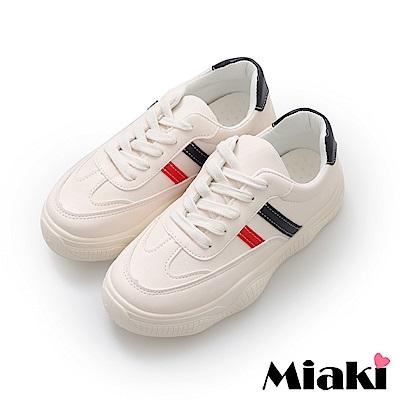 Miaki-休閒鞋.韓風學院厚底運動鞋-米