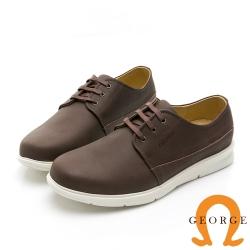 GEORGE 喬治皮鞋 輕量系列 圓頭素面真皮綁帶休閒鞋-咖