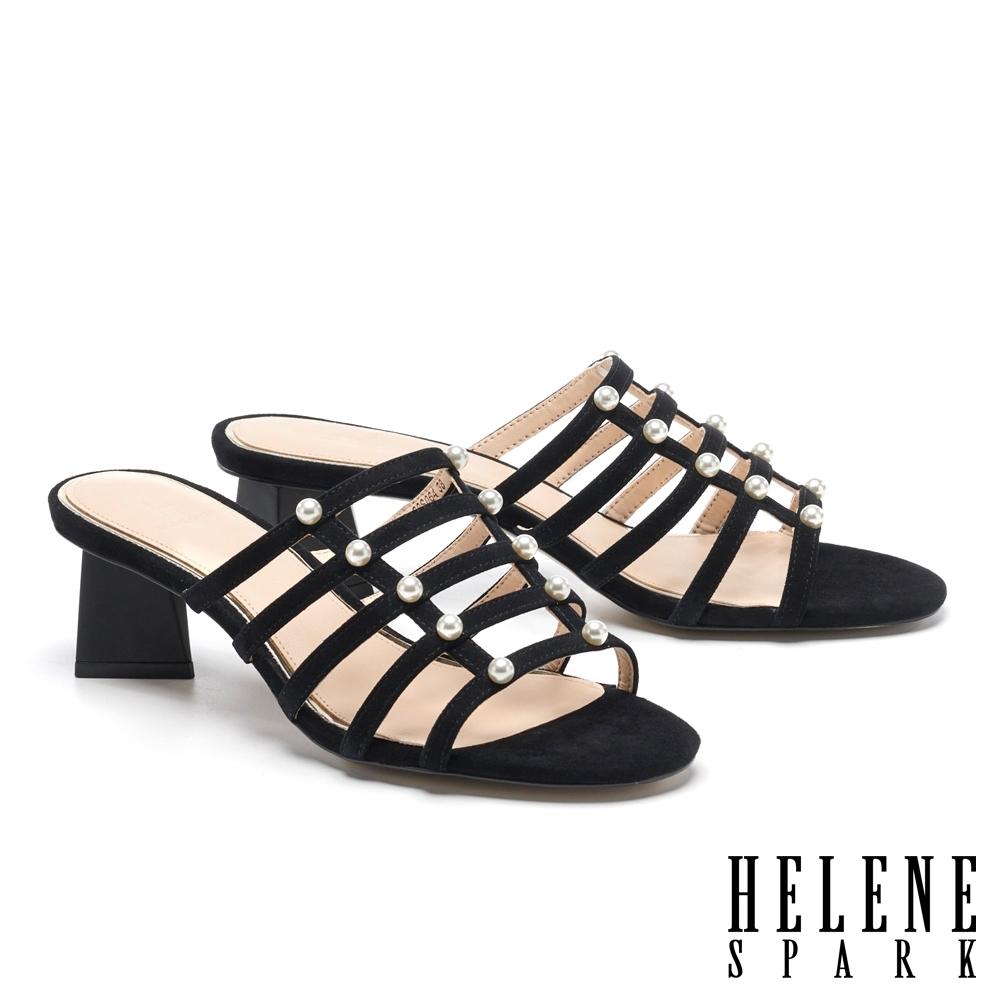 拖鞋 HELENE SPARK 高雅別致珍珠多繫帶羊麂皮高跟拖鞋-黑
