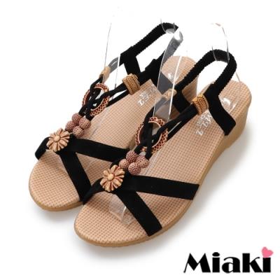Miaki-涼鞋渡假風情楔型涼拖-黑