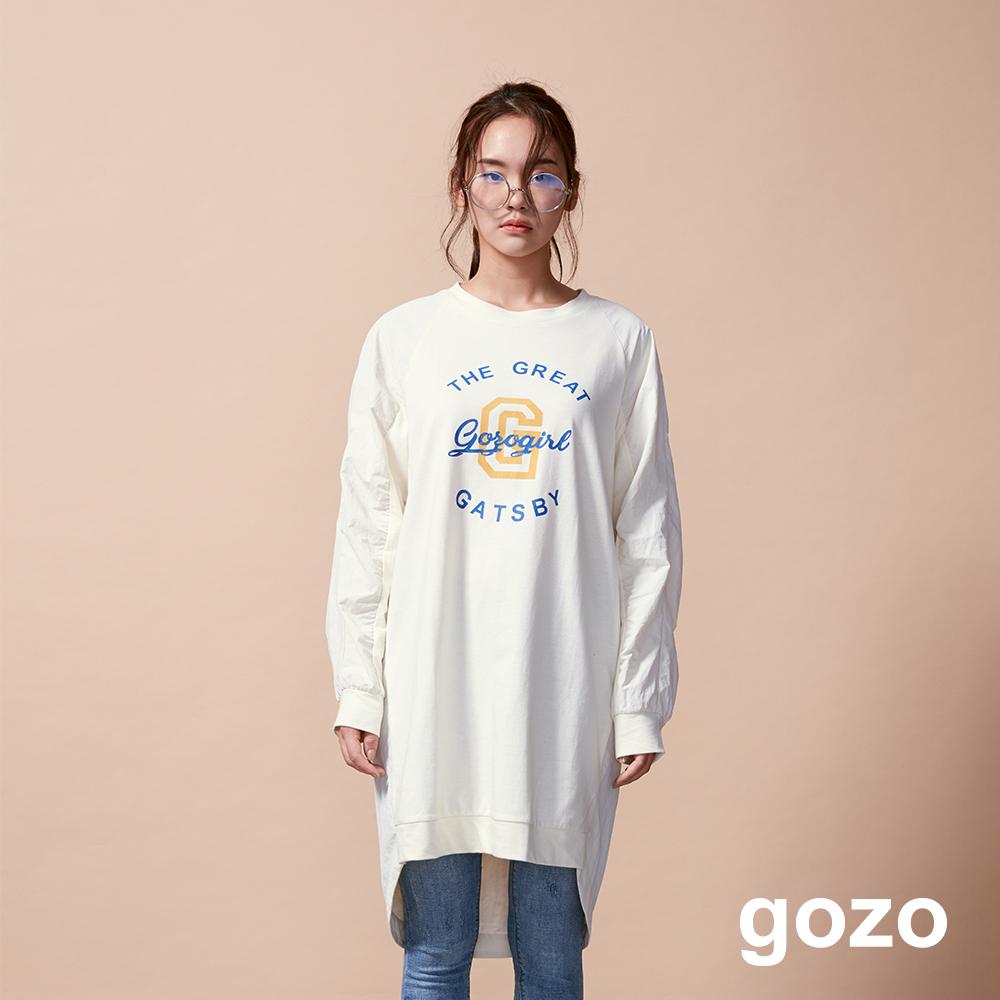gozo 刷舊主題印花異材質拼接洋裝(三色)
