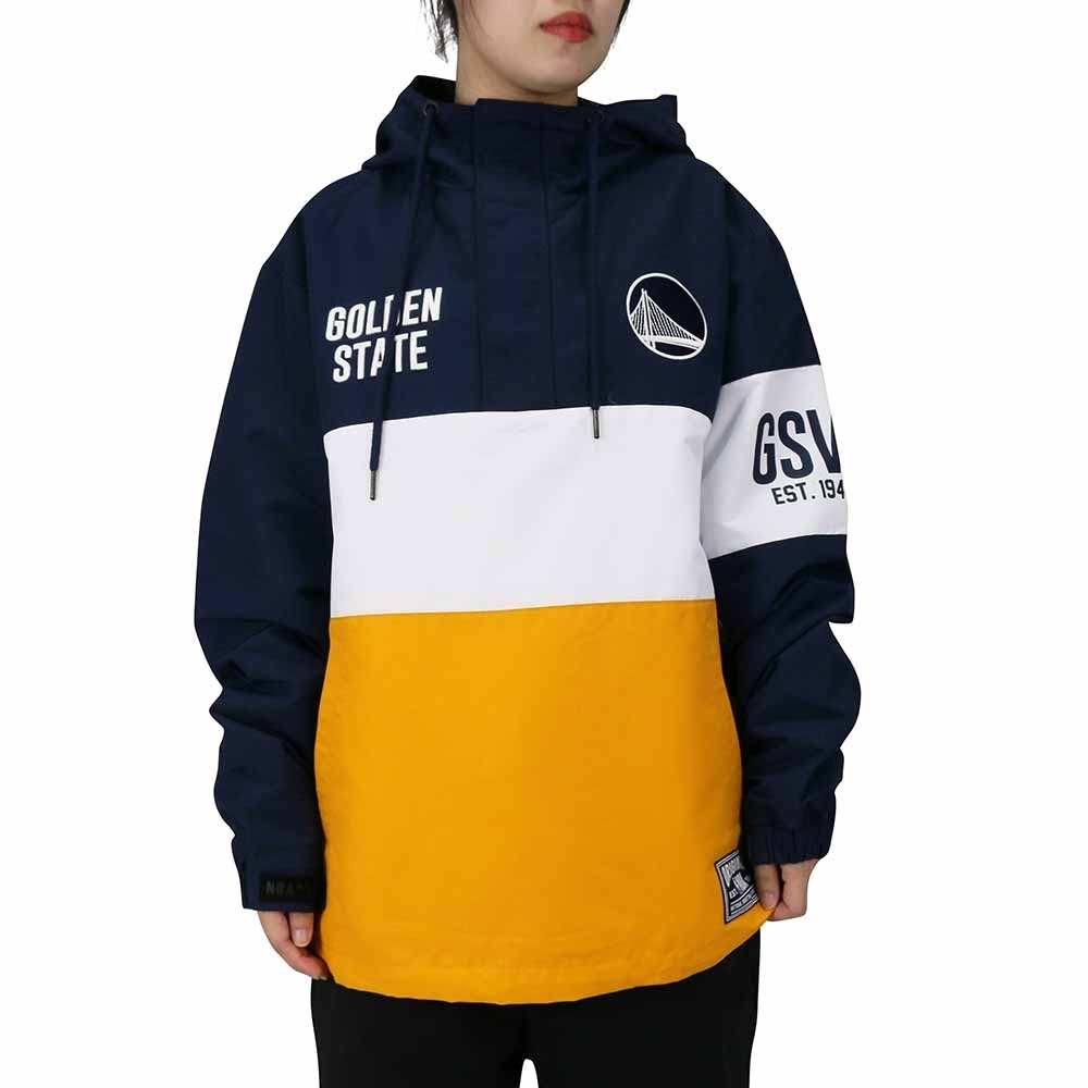 NBA Style WOVEN JUMPER 拼接 套頭風衣 連帽T恤 勇士隊