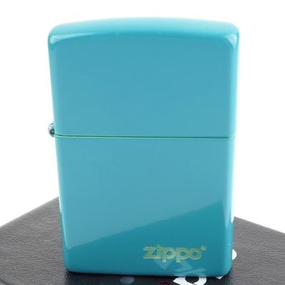 ZIPPO 美系~Flat Turquoise淺綠松石色烤漆-LOGO字樣打火機