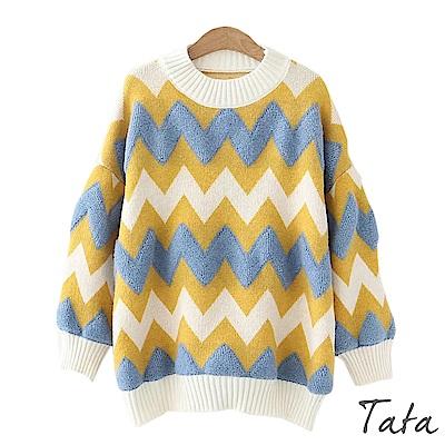 幾何心電圖拼接針織上衣 TATA
