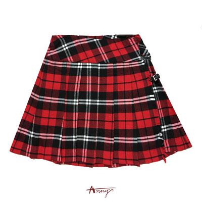 Annys華麗蘇格蘭抽鬚造型一片裙*0257紅