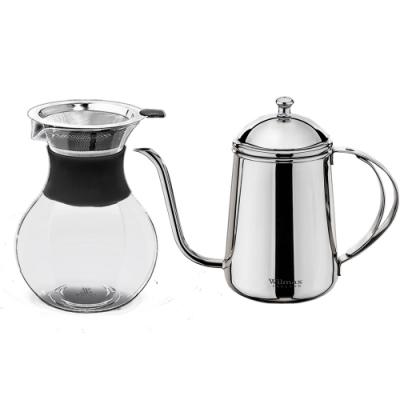 英國 WILMAX 雙層不鏽鋼細口手沖咖啡壺600ML附不鏽鋼濾網咖啡過濾壺