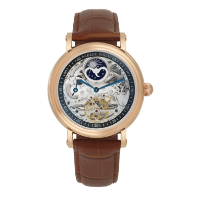 PARKER PHILIP派克菲利浦雙發條盒日月相兩地時區鏤空擺輪限量機械腕錶(玫殻/咖帶)