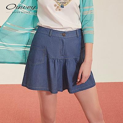 OUWEY歐薇 復古風牛仔褲裙(藍)
