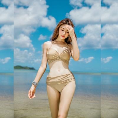 Biki比基尼妮泳衣,金變化美二件式泳衣泳裝比基尼(M-2XL)