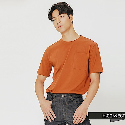 H:CONNECT 韓國品牌 男裝-口袋休閒圓領上衣-駝