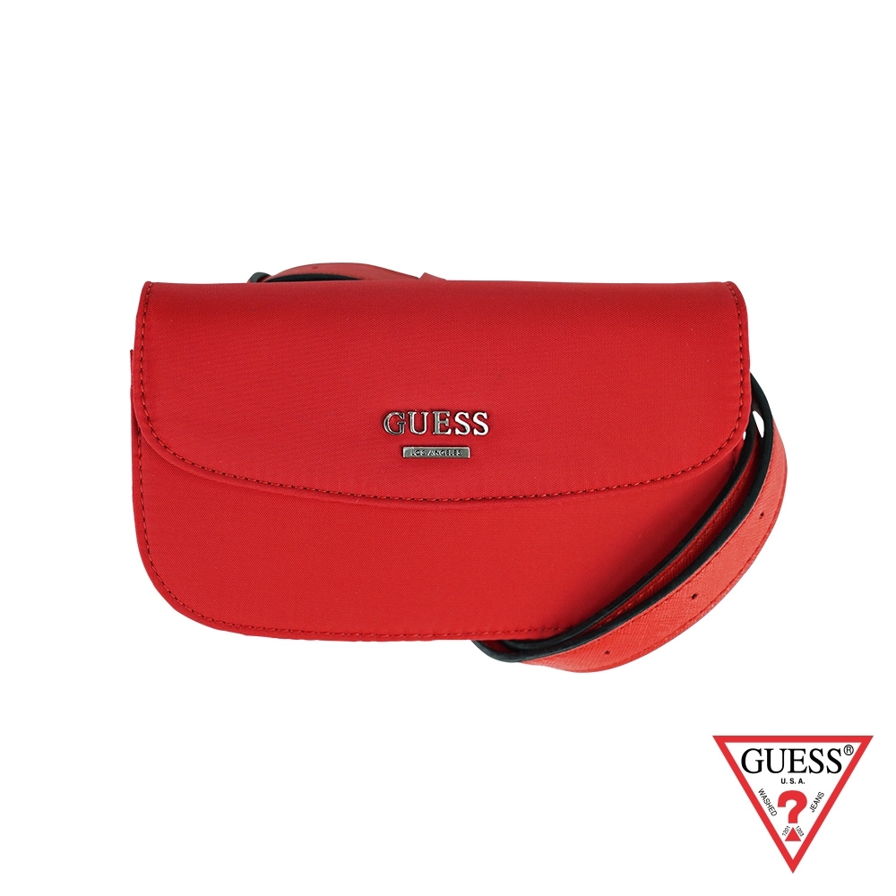 GUESS-女包- 素面經典字母logo腰包-紅