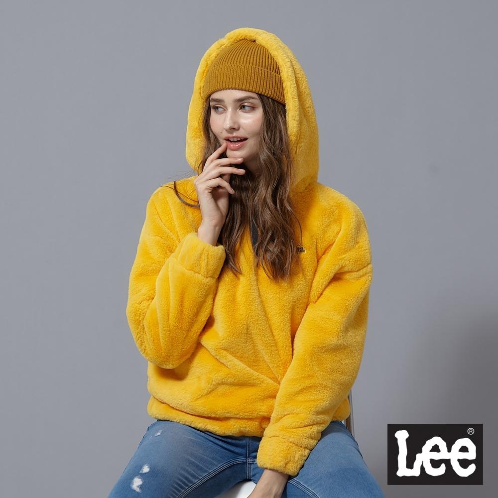 Lee 連帽厚T 保暖毛絨 女 黃