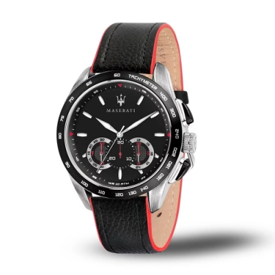 MASERATI 瑪莎拉蒂 TRAGUARDO 時尚三眼計時皮帶腕錶45mm(R8871612028)