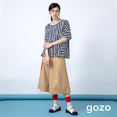 gozo 裝飾粗線壓摺七分寬褲(二色)