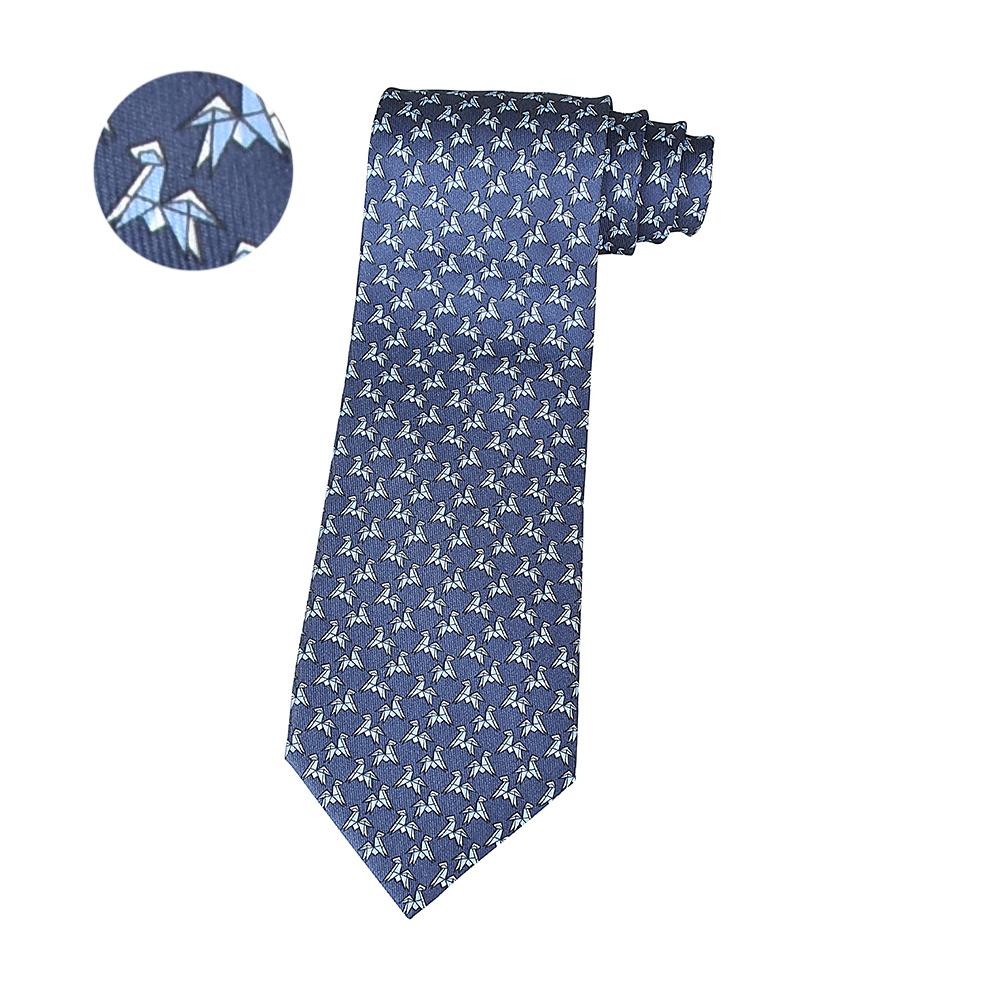HERMES愛馬仕TWILLBI ORIGAMI HORSE緹花馬摺紙設計蠶絲領帶(藍)