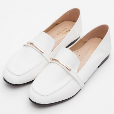 River&Moon樂福鞋-MIT百搭可二穿乳膠釋壓平底鞋 白