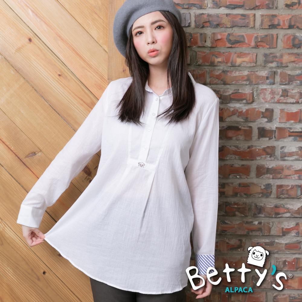 betty's貝蒂思 開襟背後拼接長袖襯衫(白色)