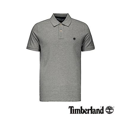 Timberland 男款中麻灰撞色刺繡LOGO短袖POLO衫|A1ZKE