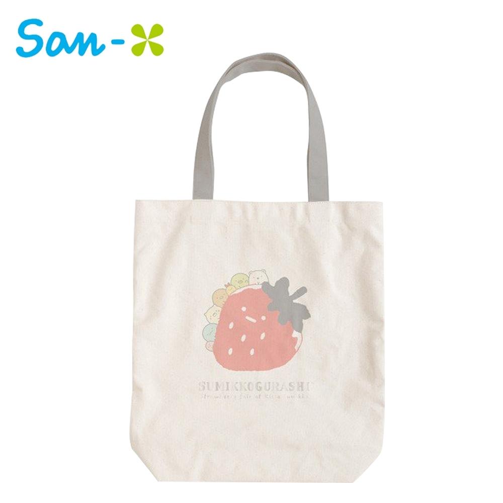 日本正版 角落生物 草莓系列 帆布 肩背提袋 托特包 手提袋 角落小夥伴 San-X 753685
