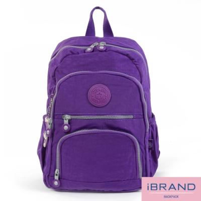 iBrand後背包 繽紛樂園尼龍多口袋後背包-典雅紫