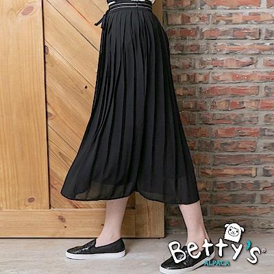 betty's貝蒂思 腰間縫帶雪紡百摺長裙(黑色)