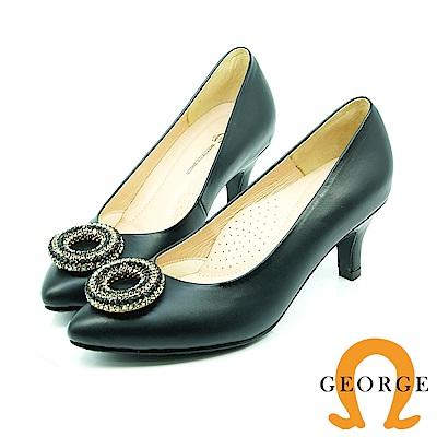 【GEORGE 喬治皮鞋】都會休閒 質感雙圓尖頭跟鞋-黑