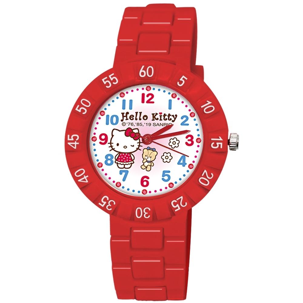 Sanrio三麗鷗 數字轉圈系列手錶Hello Kitty眨眼凱蒂貓與小熊34mm紅色