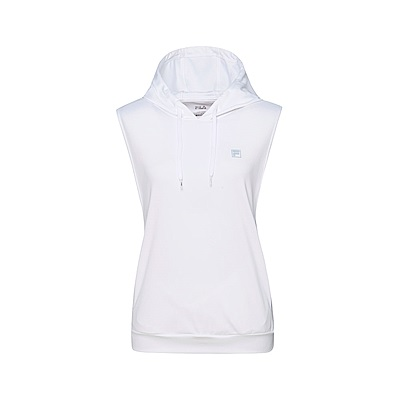 FILA 女吸濕排汗連帽背心-白色 5TKT-1316-WT