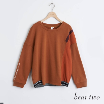 bear two- 袖口字母造型上衣 - 咖啡