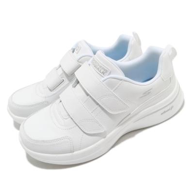Skechers 休閒鞋 Go Walk Steady 護士鞋 女鞋 高級牛皮 魔鬼氈 回彈 膠底 耐磨 穩定 白 銀 124116WHT