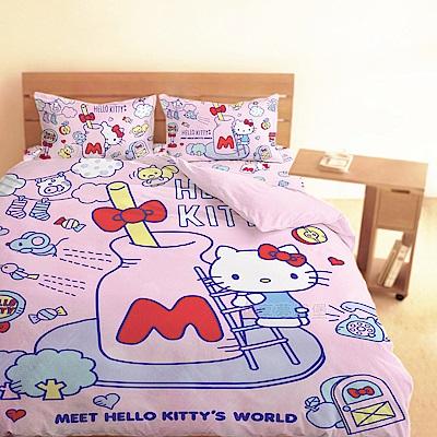 享夢城堡 單人床包雙人薄被套三件組-HELLO KITTY 世界-粉