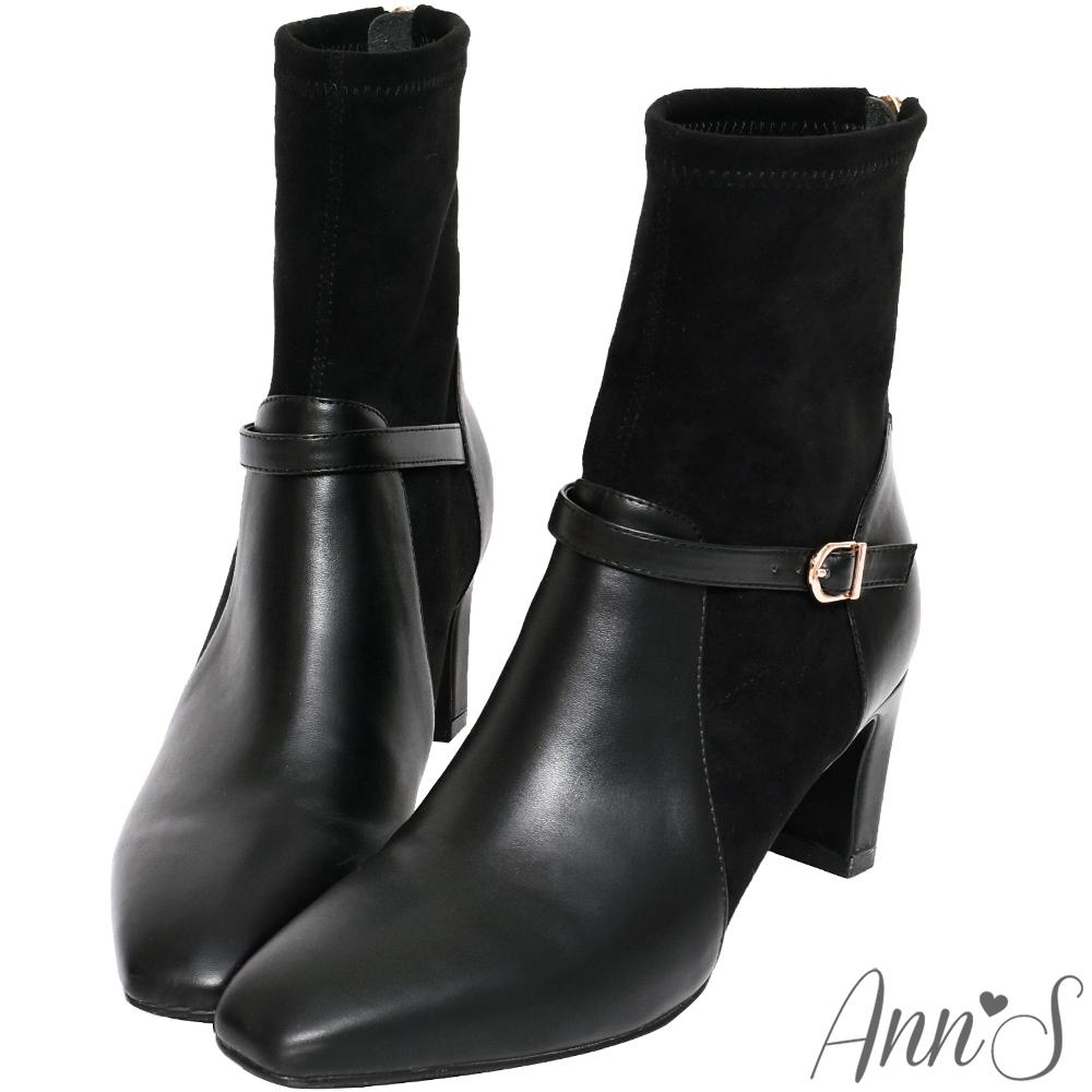 Ann'S型塑都市氣質-異材質拼接細扣帶扁跟貼腿襪套短靴-黑