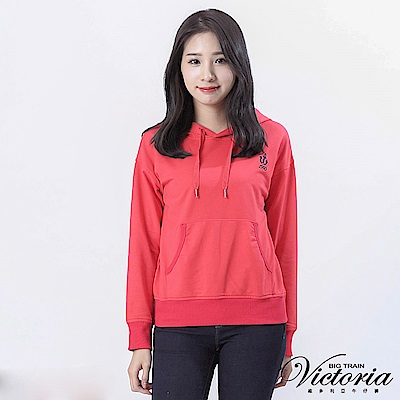 Victoria 落肩休閒長袖帽T-女-橘紅