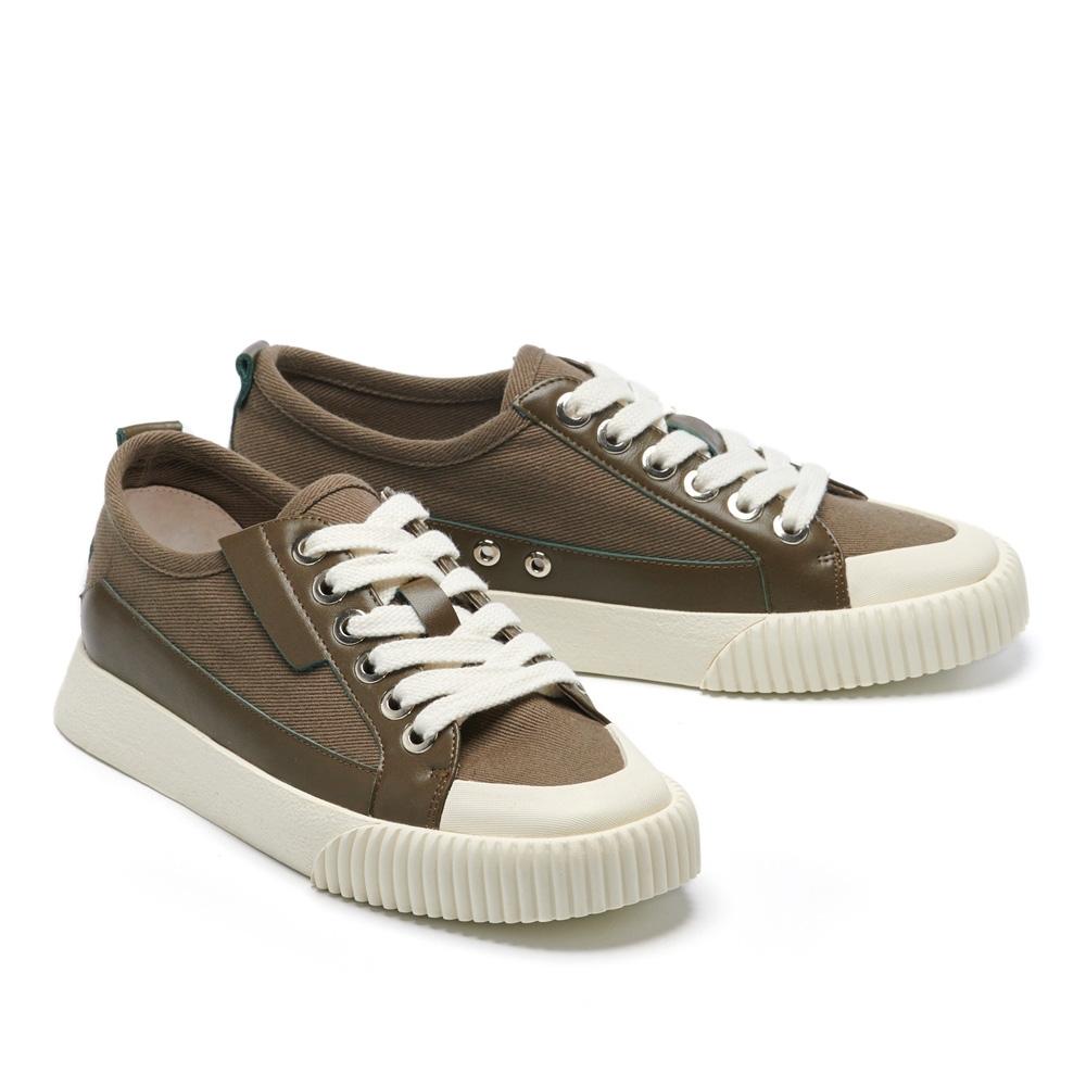 休閒鞋 HELENE SPARK 簡約時尚綁帶帆布厚底休閒鞋-綠