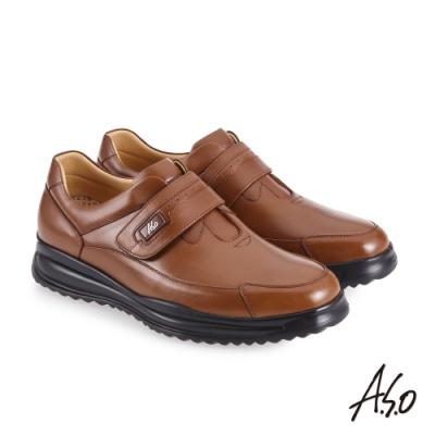 A.S.O 機能休閒 萬步健康鞋 魔鬼黏款商務休閒鞋-茶