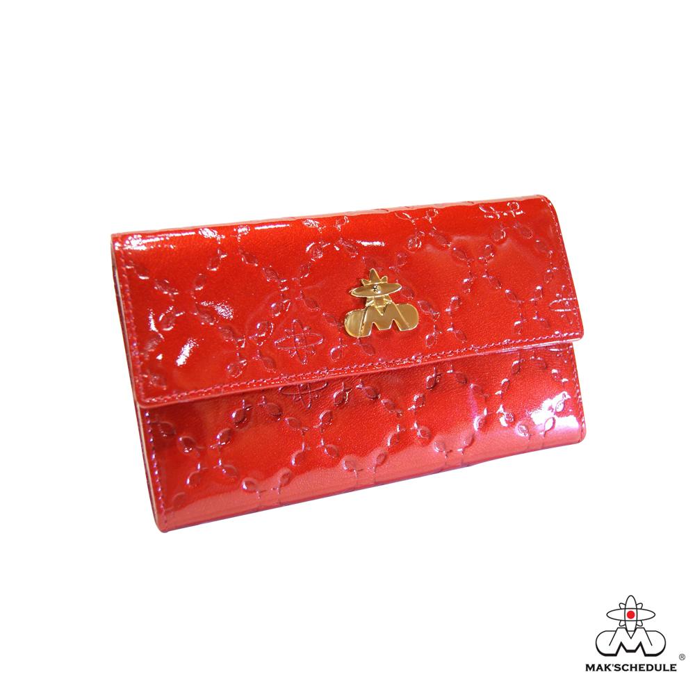 MAK SCHEDULE- 有魚系列2 菱形壓魚紋珍珠牛皮二折壓釦中夾 - 愛魚紅