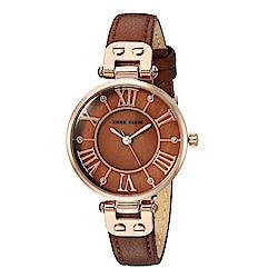 Anne Klein 濃郁深焙醇香復古水鑽時標小牛皮腕錶-咖啡色x30mm