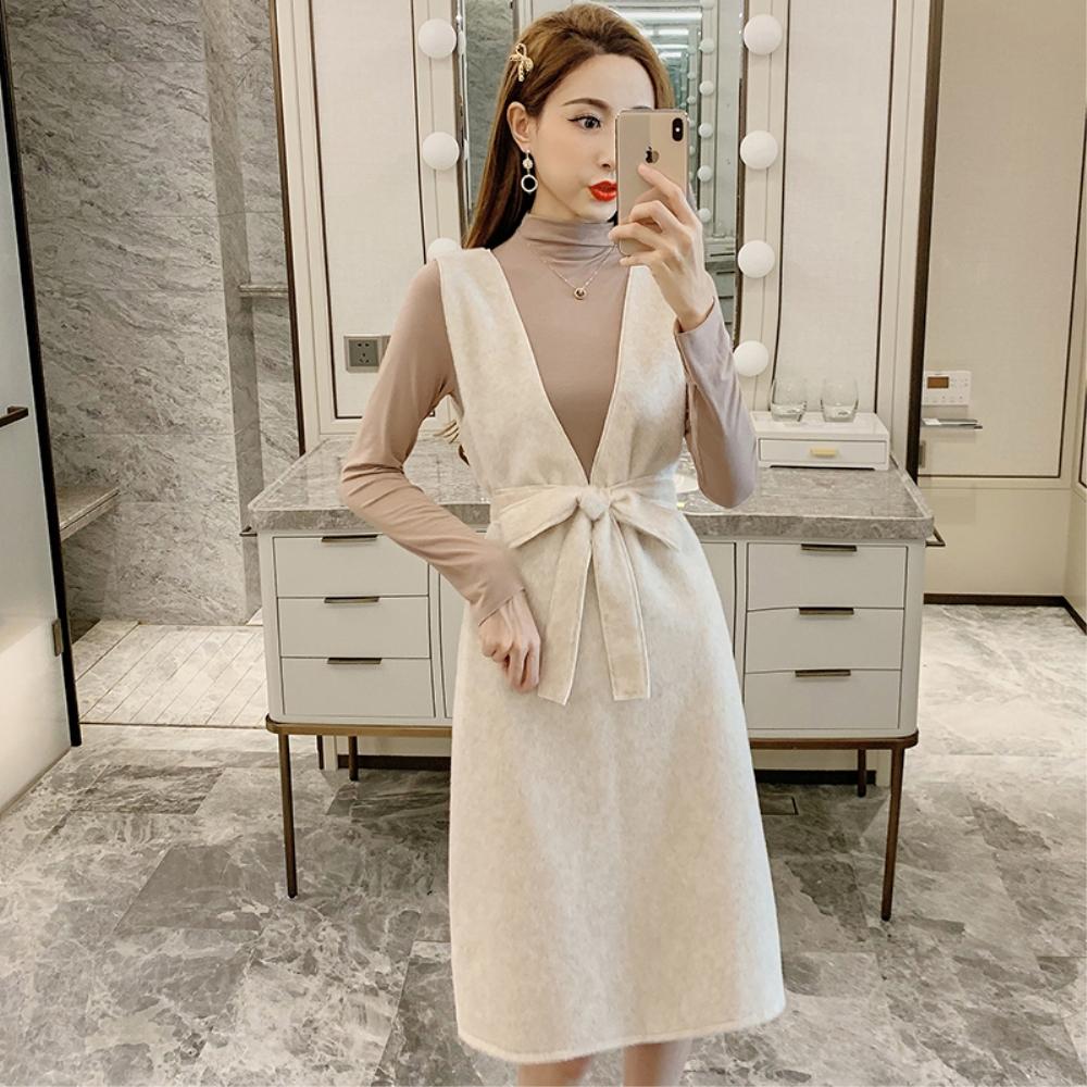DABI 韓系高領上衣V領毛寬鬆連身裙套裝長袖裙裝