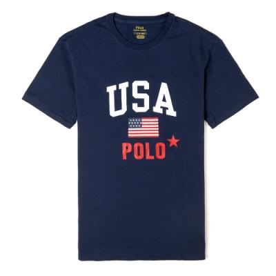 Polo Ralph Lauren 經典印刷美國國旗系列短袖T恤-深藍色