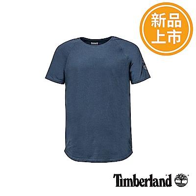 Timberland 男款深丹寧色袖標反光短袖T恤