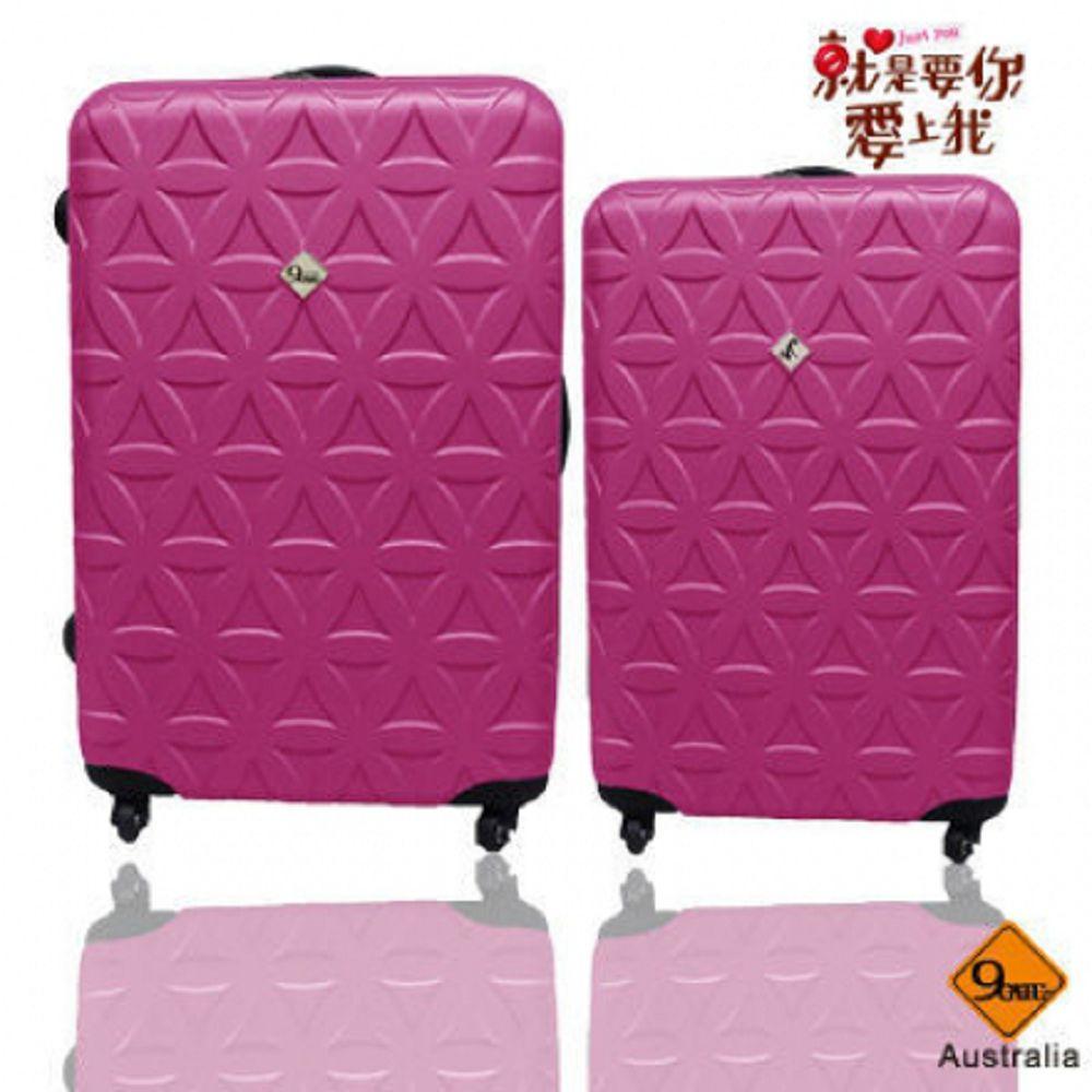 花花系列 / 28+24吋 / ABS輕硬殼行李箱《 GATE 9 》桃紅色