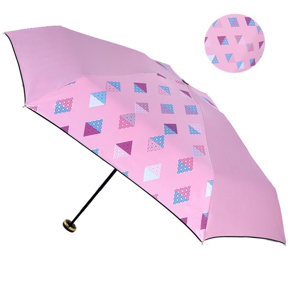 2mm 100%遮光 采漾印花黑膠降溫五折手開傘-幾何