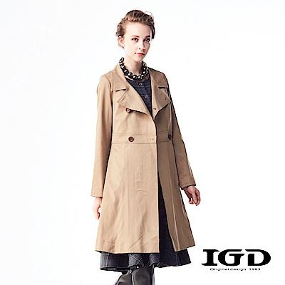 IGD英格麗 英倫都會風經典雙排扣風衣外套-卡其