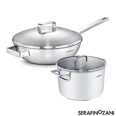 ZANI MILAN系列長柄不鏽鋼炒鍋30CM+不鏽鋼湯鍋-24CM