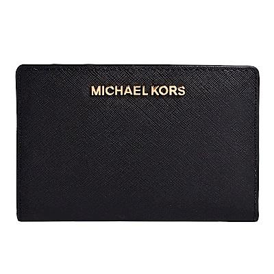 MICHAEL KORS JET SET金字LOGO防刮皮革證件卡夾(附名片夾)-黑