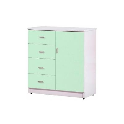 韓菲-綠白色四層屜吊衣櫃-83x47x97cm