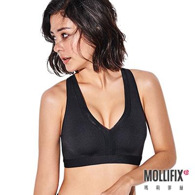 Mollifix 瑪莉菲絲 深V後交叉運動內衣 (黑)