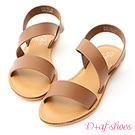 D+AF 漫步夏日.寬版斜帶設計平底涼鞋*棕